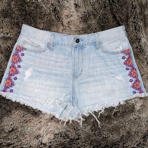 Hollister Distressed Embroidered Denim Shorts